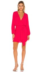 Krisa Tie Waist Surplice Mini Dress In Pink. Desire