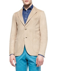 Isaia Washed Suede Elbow Patch Blazer Beige