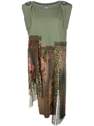 Antonio Marras Casual Asymmetric Patchwork Dress Green