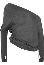 Tom Ford One Shoulder Cashmere And Silk Blend Sweater Dark Gray