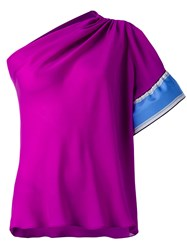 Emilio Pucci One Shoulder Blouse Pink Purple