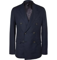 Caruso Navy Double Breasted Wool Hopsack Blazer Blue