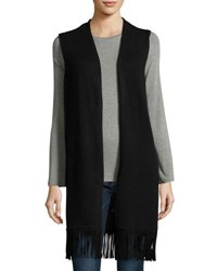 In Cashmere Long Vest With Suede Fringe Trim Black