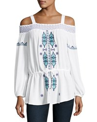 Neiman Marcus Smocked Off The Shoulder Peasant Blouse White