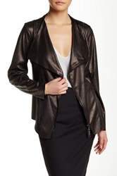 Insight Cracked Faux Leather Zip Jacket Gray
