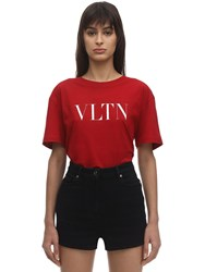 Valentino Vltn Print Cotton Jersey T Shirt Red