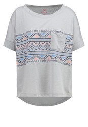 Roxy Boxy Print Tshirt Heritage Heather Light Grey
