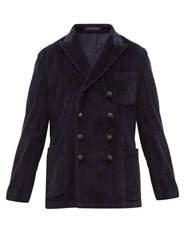 The Gigi Double Breasted Cotton Blend Corduroy Blazer Navy