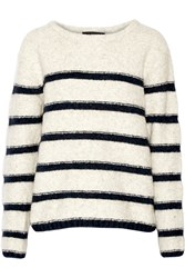 Line Beaufort Striped Intarsia Knit Sweater White