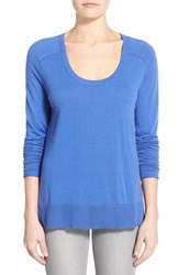 Women's Halogen Knit Scoop Neck Step Hem Pullover Blue Amparo