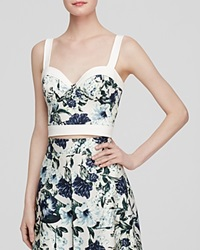 Abs By Allen Schwartz Top Sleeveless Floral Print Bustier Mint