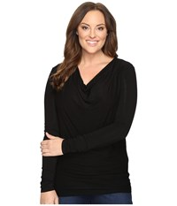 Stetson Plus Size Rayon Jersey Long Sleeve Blouse Black Women's Blouse