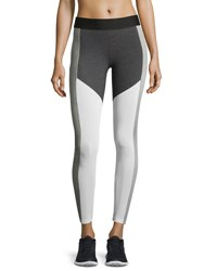 Heroine Sport Racing Colorblock Performance Leggings Chalk Charcoal White Gray Pattern