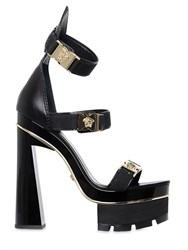 Versace 140Mm Logo Buckles Leather Sandals