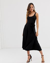 Warehouse Maxi Swing Dress With Tie Waist In Black