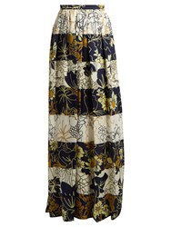 Roksanda Ilincic Myla Striped Floral Print Silk Maxi Skirt Navy White