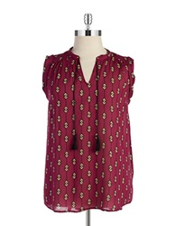 Lucky Brand Plus Plus Geometric Hi Lo Top Purple