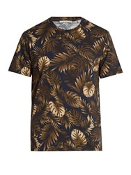 Vince Cabana Print Cotton Jersey T Shirt Blue