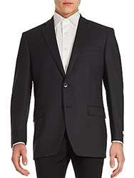 Calvin Klein Gingham Textured Wool Sportcoat Charcoal
