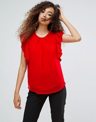 Ichi Flutter Sleeve Blouse Barbados Cherry Red