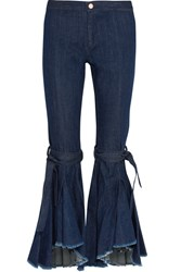 Maggie Marilyn Firm In Her Beliefs Frayed High Rise Flared Jeans Indigo