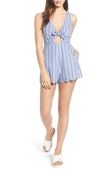 Lush Knot Front Romper Red Blue Stripe