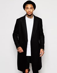 Asos Double Breasted Wool Rich Overcoat In Black