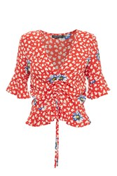 Topshop Red Floral Ruched Front Top Red