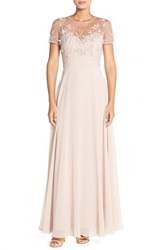 Js Collections Embellished Mesh And Chiffon Gown Blush