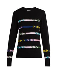 Barrie Summer Sailor Crew Neck Cashmere Sweater Black Multi