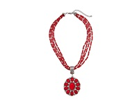 Mandf Western Multi Strand Round Concho Necklace Earring Set Red Jewelry Sets