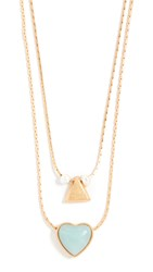 Madewell Layered Stone Heart Necklace Set Vintage Gold