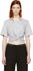 Alexander Wang T By Grey And White Front Twist T Shirt