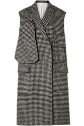 Calvin Klein 205W39nyc Woman Oversized Houndstooth Wool Blend Vest Gray