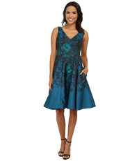 Maggy London Teal Flower Jacquard Fit And Flare Teal Combo Women's Dress Blue