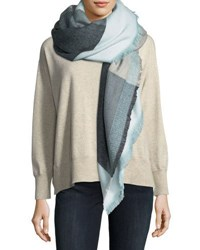 Michael Stars Brushed Knit Square Print Scarf Gray