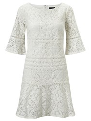 Adrianna Papell 3 4 Sleeve Lace Shift Dress Cream