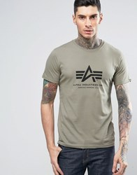 Alpha Industries Logo T Shirt Regular Fit In Green Olive