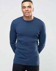 New Look Ribbed Muscle Fit Jumper With Crew Neck In Navy Navy