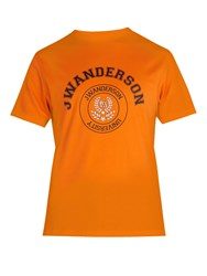 J.W.Anderson Varsity Logo Print Cotton T Shirt Orange