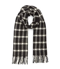 Reiss Tempest Checked Wool Scarf In White Womens