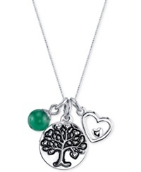 Unwritten Family Tree Charm Pendant Necklace In Sterling Silver Plated Brass