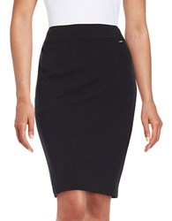 Tahari By Arthur S. Levine Double Vent Pencil Skirt Navy