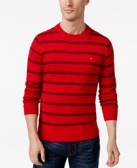 Tommy Hilfiger Signature Crew Neck Striped Sweater Apple Red
