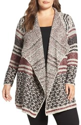 Lucky Brand Plus Size Women's Mix Stripe Drape Front Cardigan
