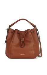 Karen Millen Lizard Drawstring Tote Brown