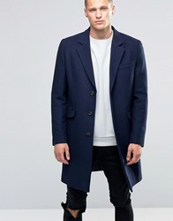 Asos Wool Mix Overcoat In Navy Navy