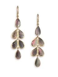 Ippolita Rock Candy Collection Black Shell Linear Cascade Earrings Gold Grey