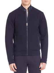 Z Zegna French Terry Zip Jacket Dark Blue