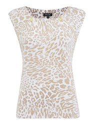 Episode Leopard Print Zip Sleeveless Top Multi Coloured